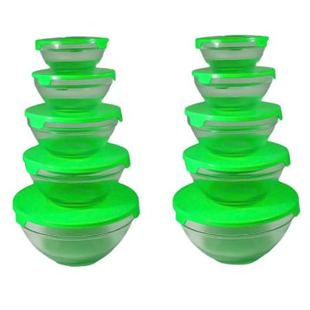 alpine cuisine 5 piece nesting glass bowl set with green