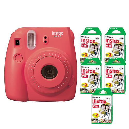 FujiFilm Instax Mini 8 Fuji Instant Film Camera Rasberry + 100 SHeets Instant Fi by Fujifilm