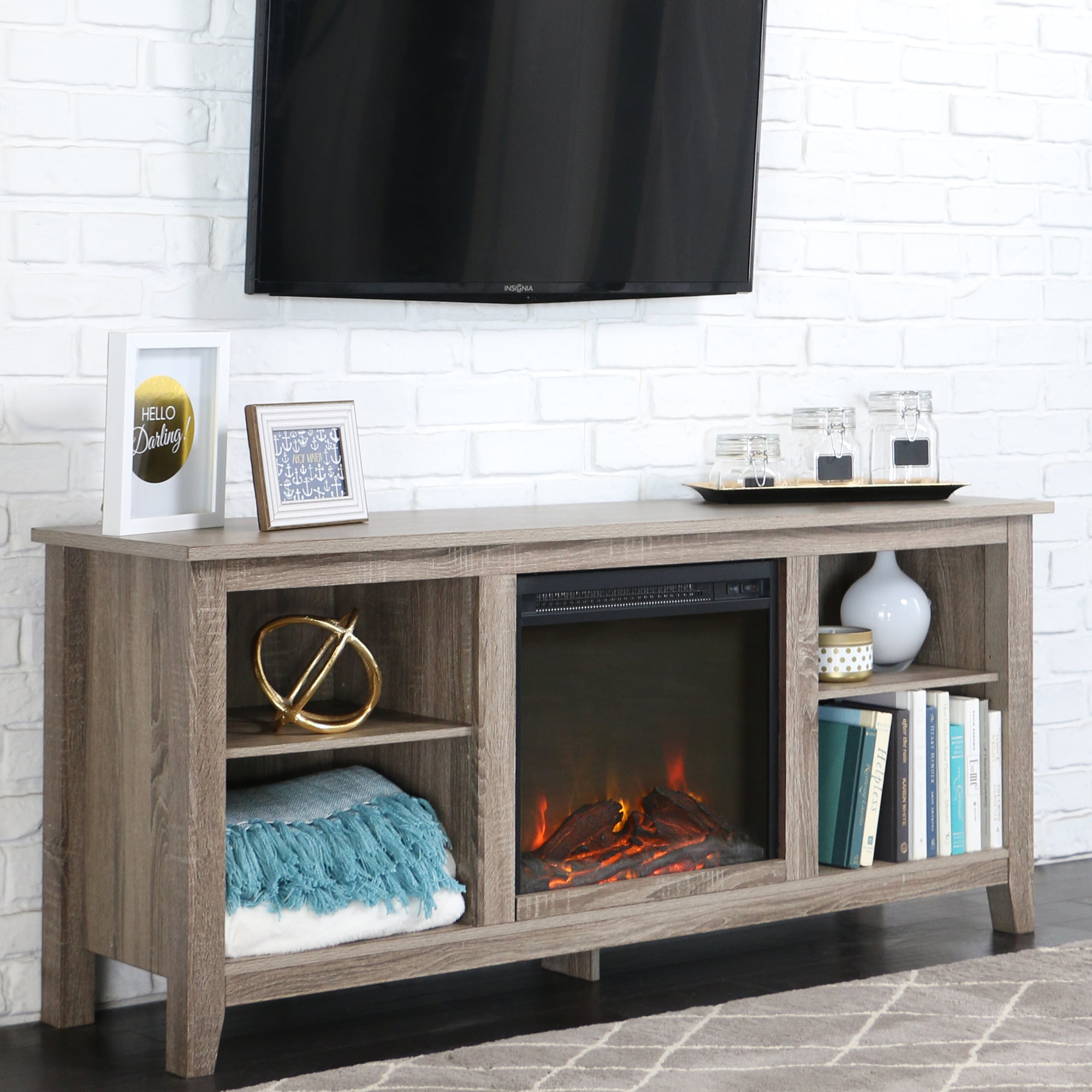 wayfair delaney fireplace with furniture tv stand pdx reviews muskoka stands