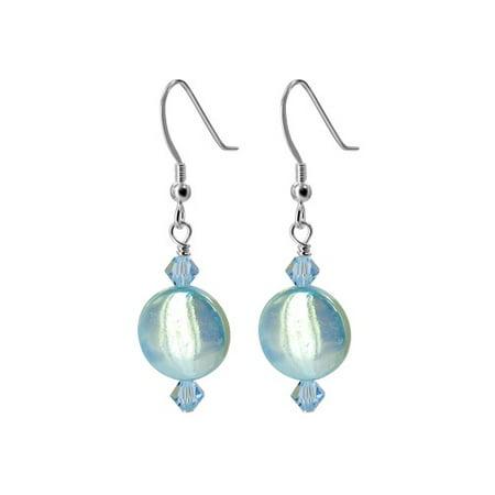 - Gem Avenue 925 Sterling Silver Blue Mother of Pearl Handmade Drop Earrings