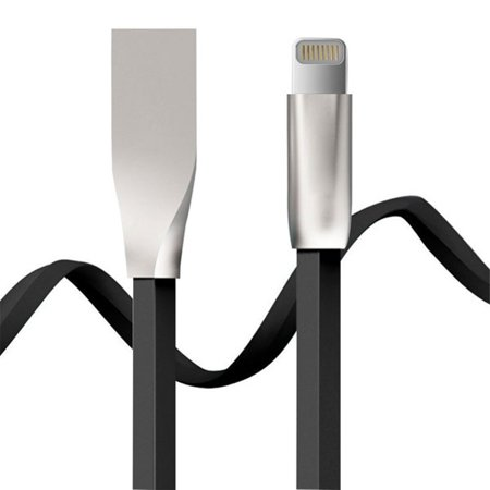 AT&T iPhone X Flat USB Cable Charger Sync Wire 6ft Long Cord [Zinc Alloy Connectors] [Black] [Fast Charge] A9Q