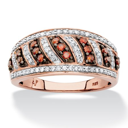 1 2 Tcw Round Red And White Diamond Diagonal Row Ring Band In Chocolate And Rose Gold Over