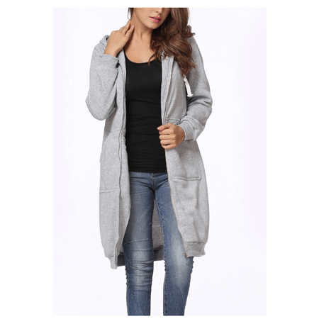 Women's Casual Zip Up Hoodie Coat, Gray Solid Color Long Jacket Sweatshirt Outerwear for Women, (Gray Logoed Sweatshirt)