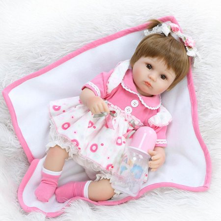 "Ktaxon 16"" Reborn Baby Girl Dolls Lifelike Vinyl Newborn Doll Bebe Xmas Gifts Toy Kids"