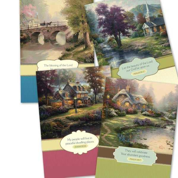 DaySpring Thinking of You Boxed Greeting Cards w Embossed Envelopes - Thomas Kinkade, 12 Count (5172