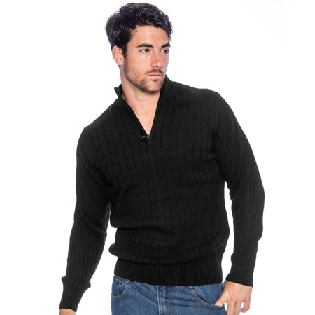 TR Men's Cotton Sweater with Quarter Zip by 9 Crowns Essentials