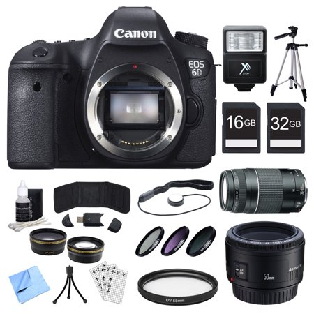 Canon EOS 6D CMOS Digital SLR Camera, Lenses, and Cards Bundle