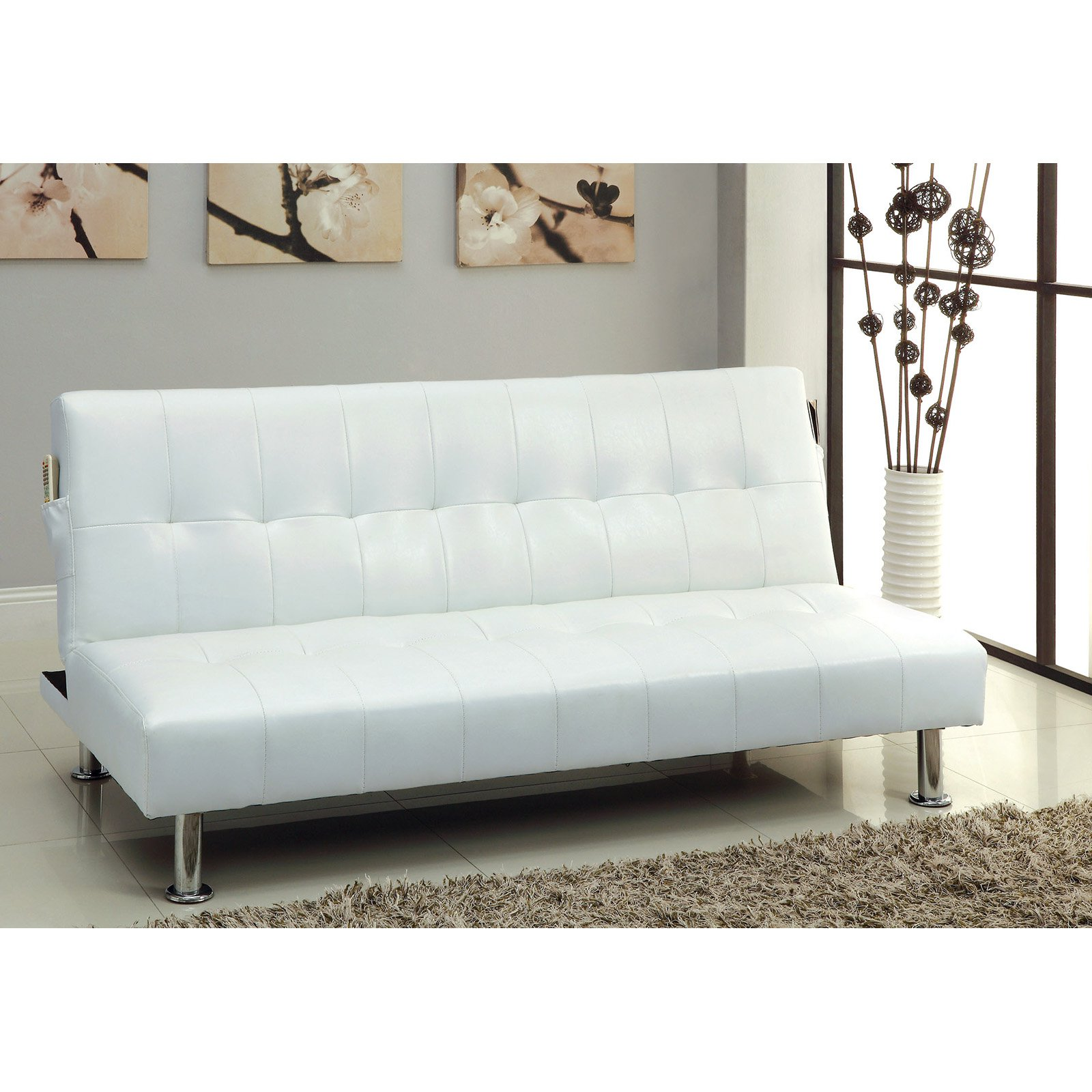 Furniture of America Fabric Convertible Futon with Side Pockets