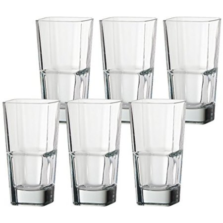 Set of 6 Palladio 14 oz Square Stacking Glass Tumblers Heavy and Durable Italian Glass (6) (Stacking Glass Tumblers)