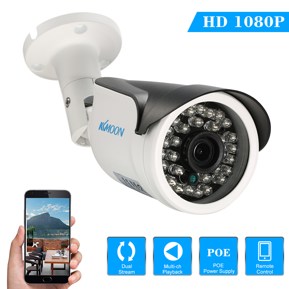"KKmoon  1080P HD POE IP Camera 2.0MP 3.6mm 1/2.8"" CMOS P2P Onvif 30PCS IR Lamps Night View IR-CUT Motion Detection Waterproof Phone APP Control Home Security"