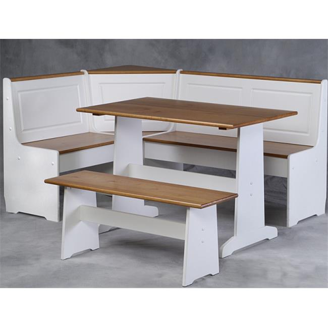 Linon Home Decor Products, Inc. Ardmore 5-Piece Nook Set, White with Pine Accents, Box 2 of 2