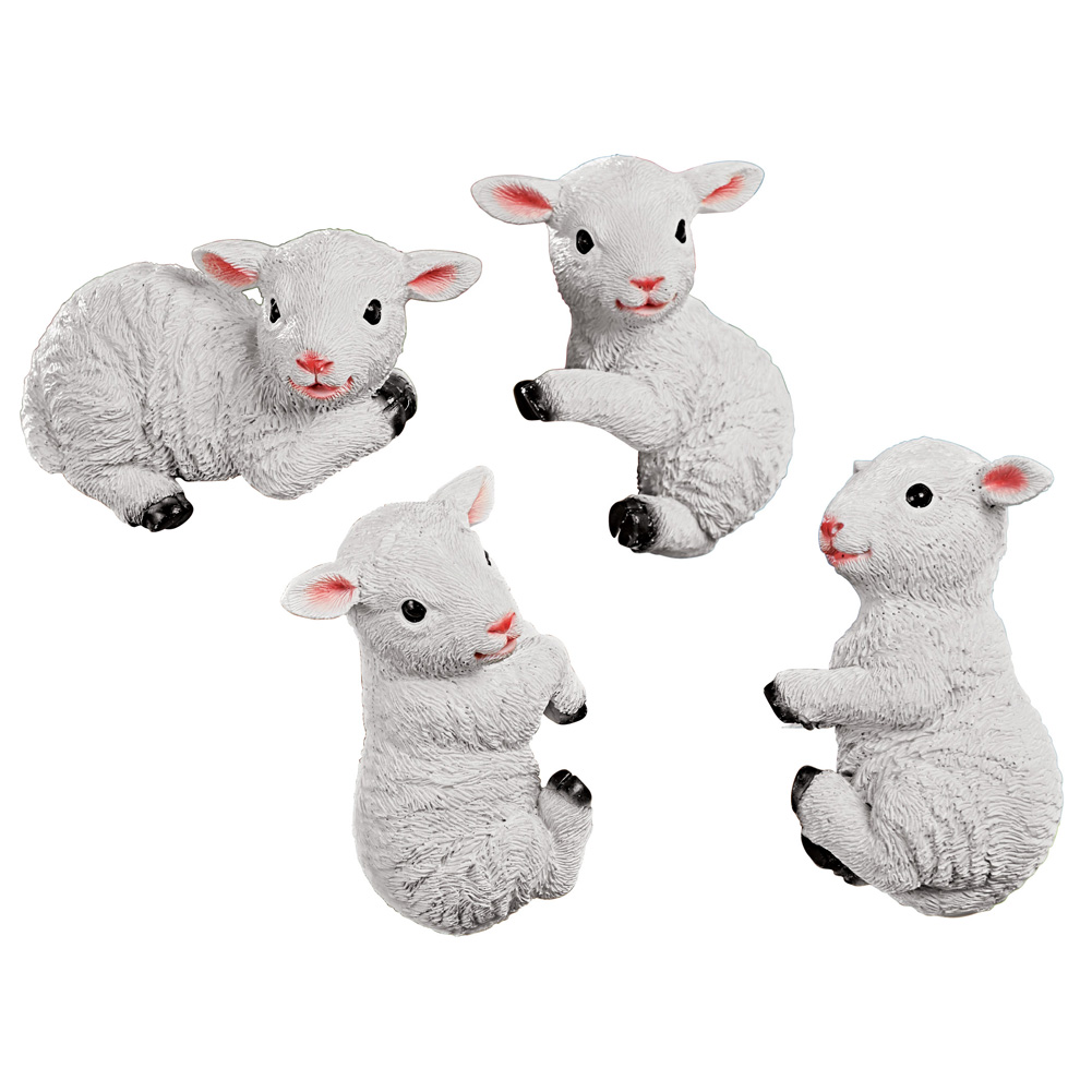 White Lamb Pot Hangers - Set of 4, Hand-Painted Textured Resin, Seasonal Decorative Accent
