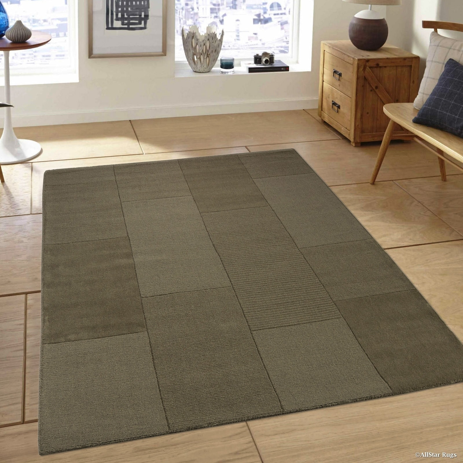 Allstar Olive Wool Ultra Soft Modern Solid Textured Rug (...
