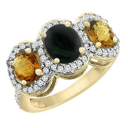 10K Yellow Gold Natural Black Onyx & Whisky Quartz 3-Stone Ring Oval Diamond Accent, size 5