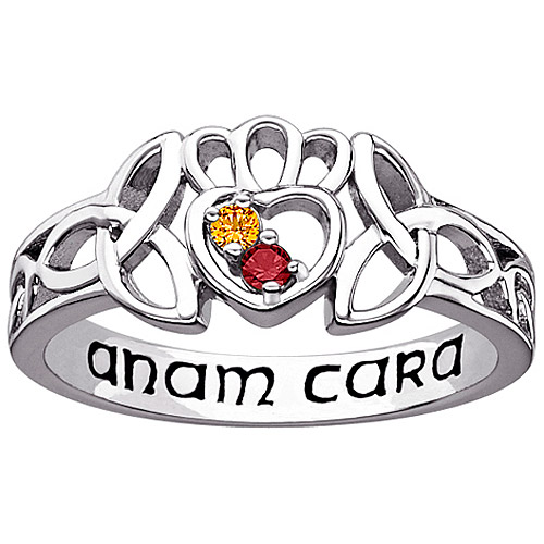 Personalized Women's Sterling Silver Couple's Genuine Birthstone Celtic Knot Ring