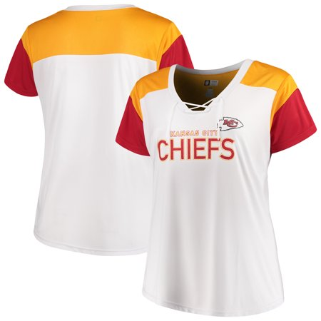 29a5daf0 Kansas City Chiefs Majestic Women's Lace-Up V-Neck T-Shirt - White/Red