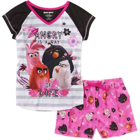 Angry Birds Girls' 2 Piece Short Set, Pink, Size: Small - Angry Birds Outfit