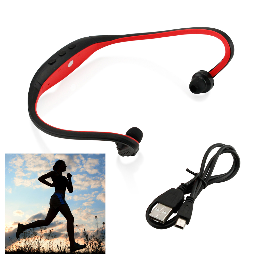 Sports Wireless Stereo Bluetooth Wrap Around Earphones Headset Headphone For Samsung iPhone Cellphone PC - Red