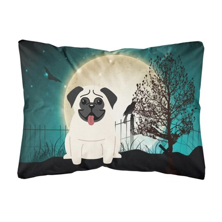 Halloween Scary Pug Cream Canvas Fabric Decorative Pillow (Halloween Pugs)