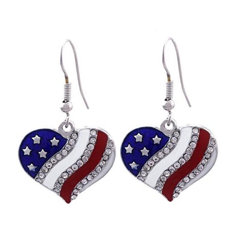 American Flag Earrings Tarnish Resistant Crystal U.S.A. Patriotic Heart Flag Dangle Drop Jewelry - Patriotic Earrings