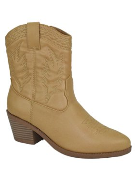 eba37fe54 Product Image Picotee Beige Blond Soda Women Cowgirl Cowboy Western  Stitched Ankle Boots Pointy Toe 5.5