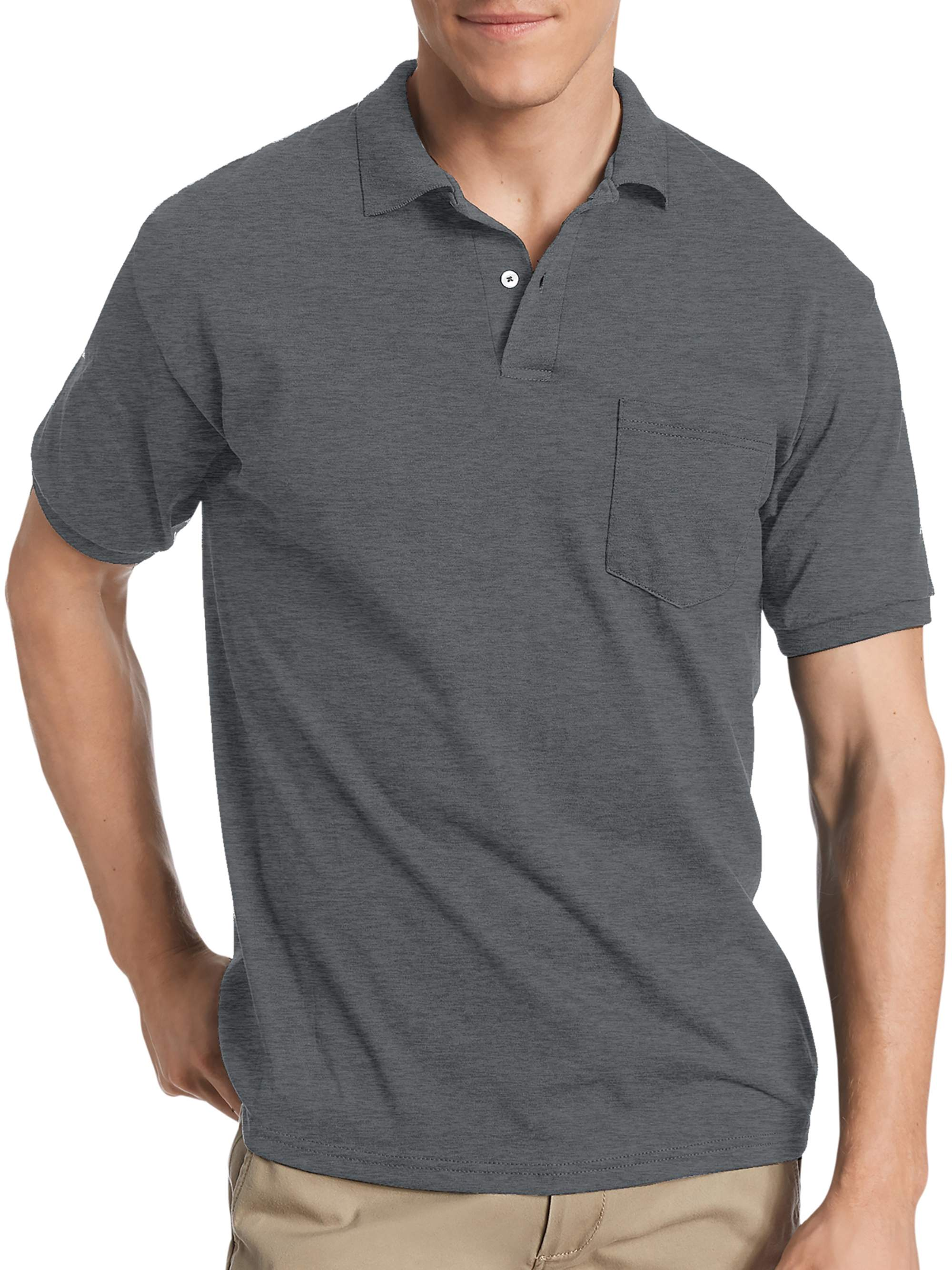 Hanes Big Mens Comfortblend Ecosmart Jersey Polo With Pocket