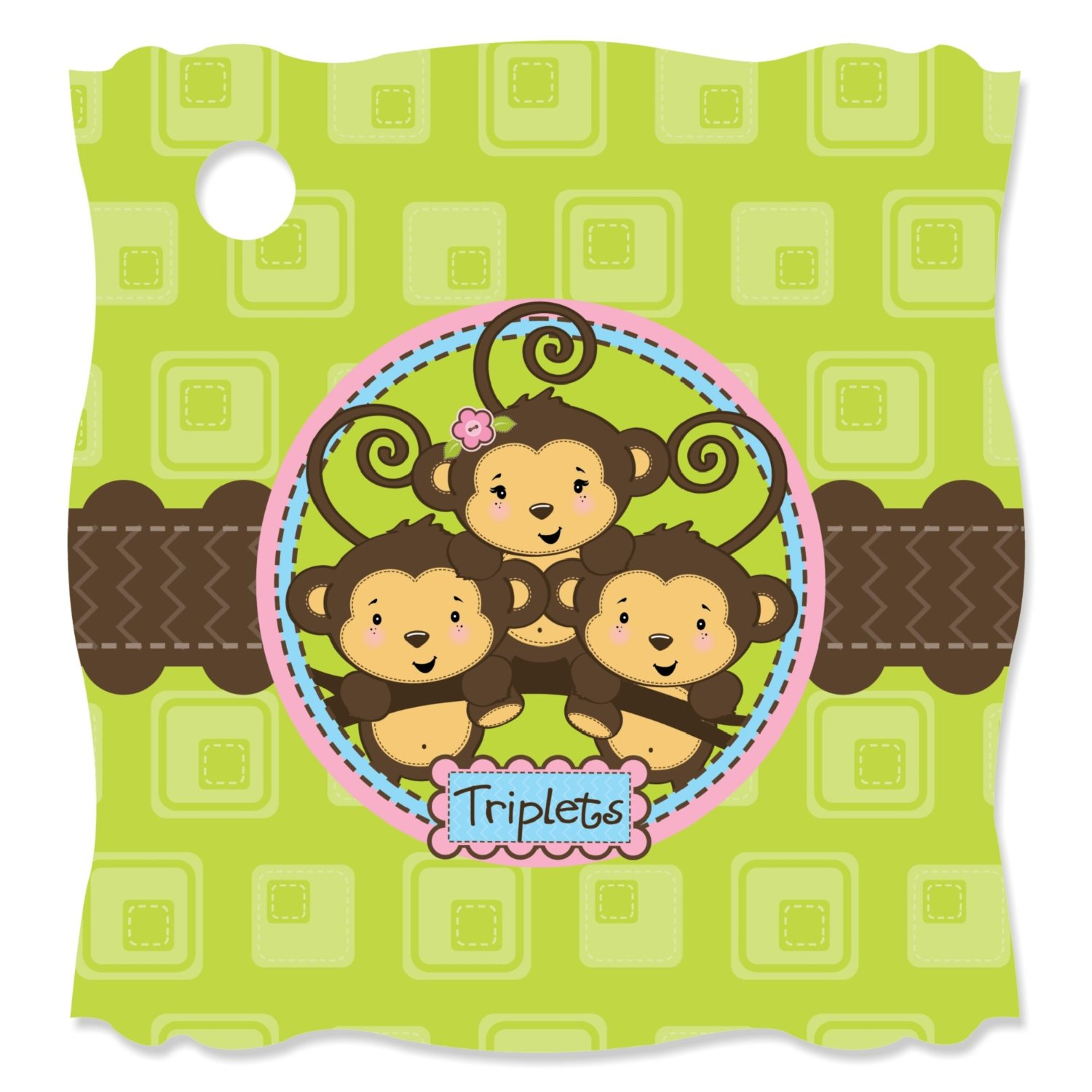 Triplet Monkeys 2 Boys & 1 Girl - Die-Cut Party Favor Tags (Set of 20)