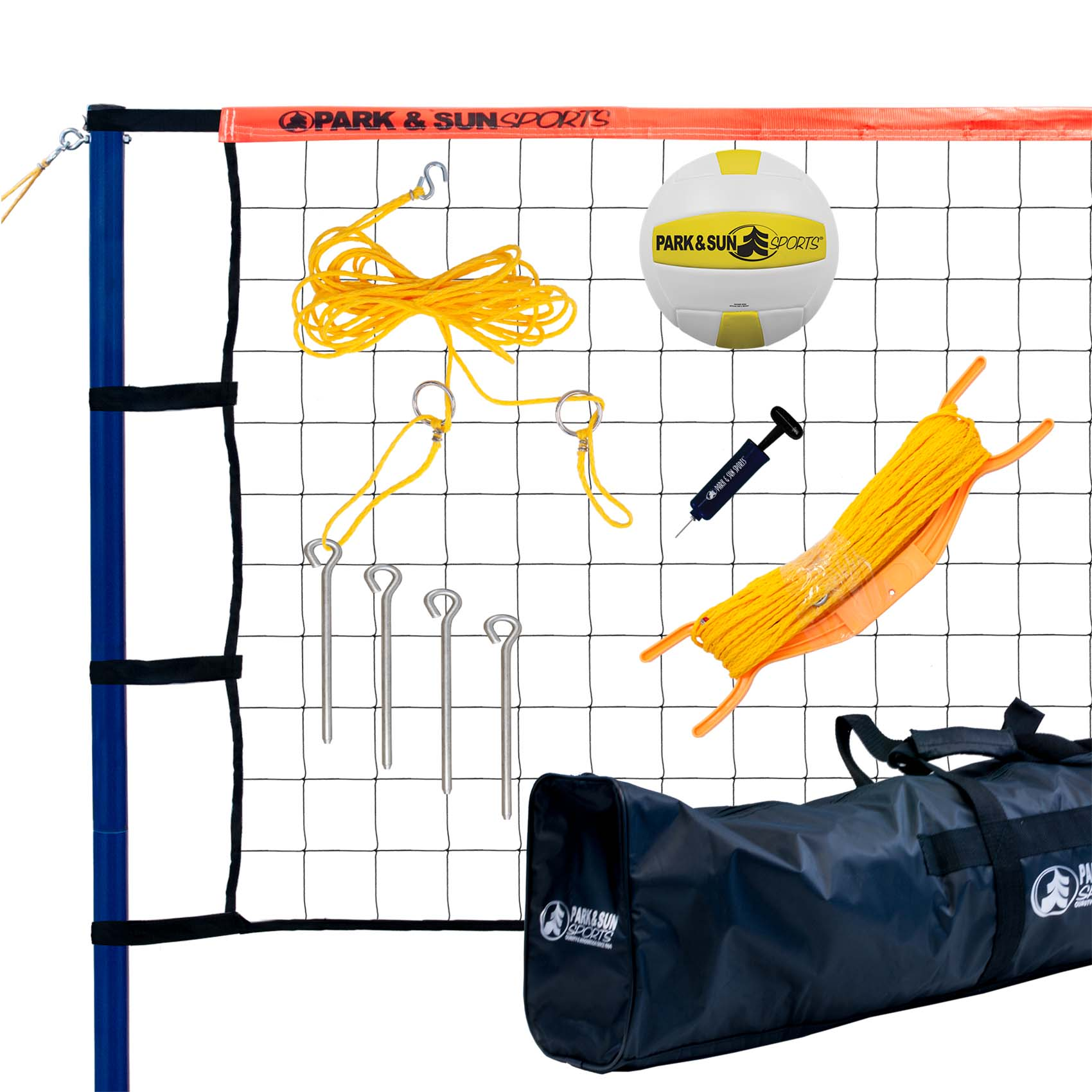Park & Sun Spiker Sport Steel Orange Portable Outdoor Volleyball Net Set w/ Bag