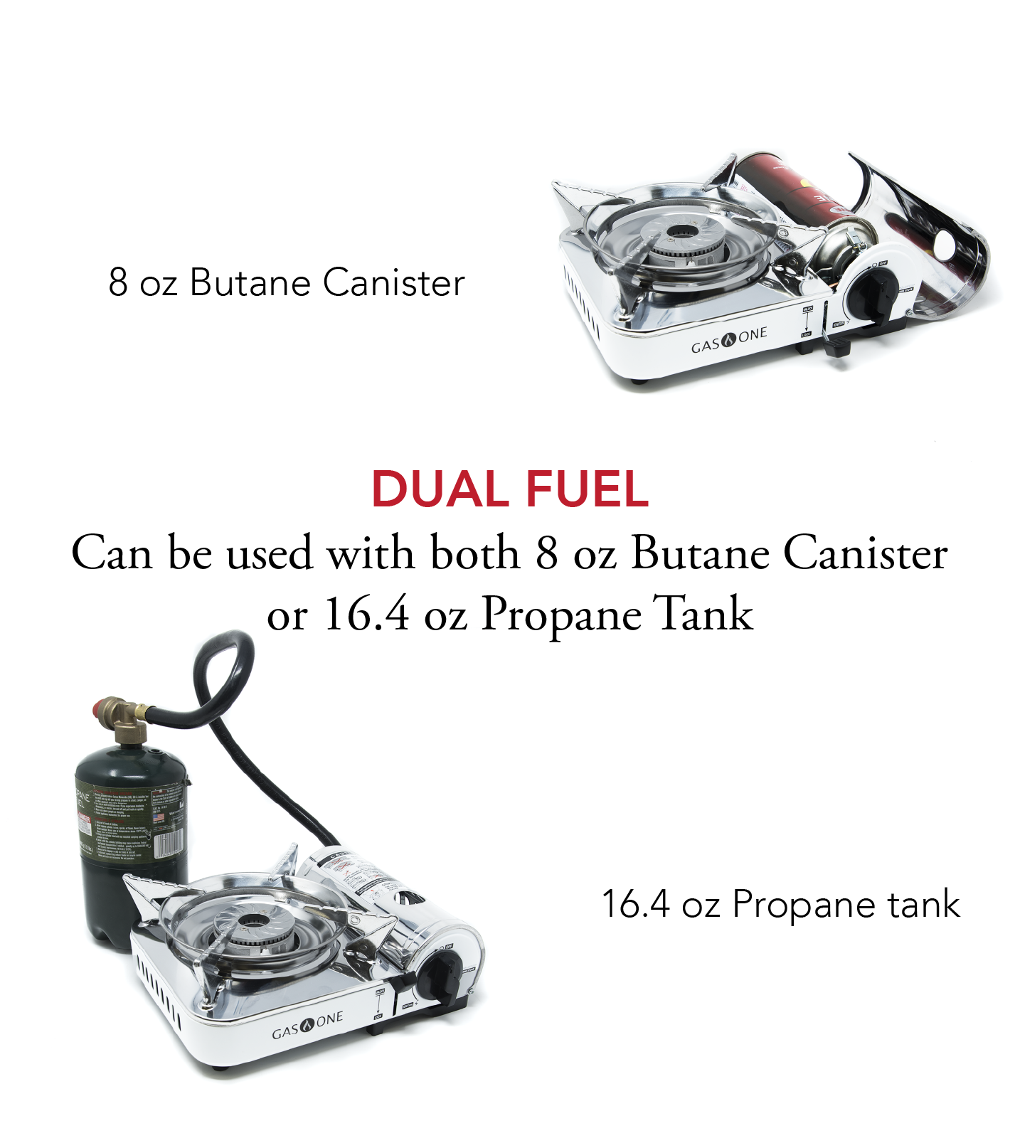 Mini Dual Fuel Stainless Butane Gas Stove w// Piezo Ignition High Output Portable