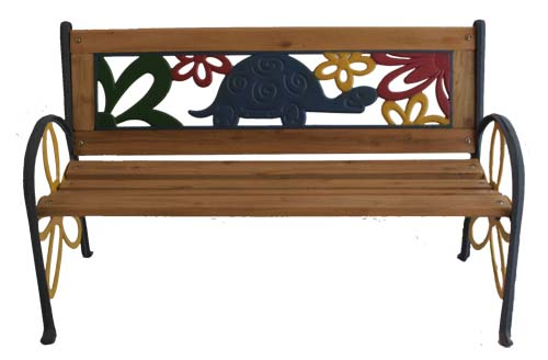 Tortoise Junior Park Bench -- Cast Iron Kids Park Bench With Resin Back by Kozy Life