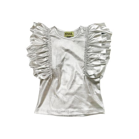 Sophie Catalou Little Girls Silver Metallic Shine Ruffle Embellished Top