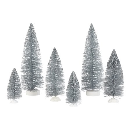 Holiday Time Silver Tree Table-Top Christmas Decoration, Multiple Sizes, Set of 6 ()