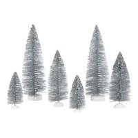 Holiday Time Silver Tree Table-Top Christmas Decoration, Multiple Sizes, Set of 6