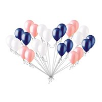 24 pc Coral White & Navy Blue Latex Balloons Party Decoration Birthday Baby Boy