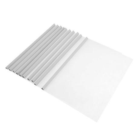 Clear Plastic Folders (Office Plastic Clear Sliding White Bar A4 Size Document File Folder 10)