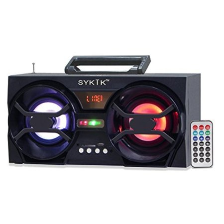 Radio Controlled Box - Sykik SP2091BT Bluetooth Boom Box with SD/MMC/USB, FM Radio, Built-in Rechargeable Battery & Remote Control