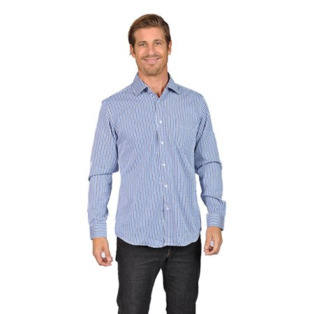 Mens Long Sleeve Button Down Shirts Gingham Check Blue