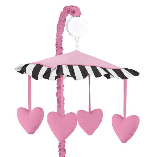 Pink Hearts, Black and White Stripe Paris Musical Baby Crib Mobile by Sweet Jojo Designs by Sweet Jojo Designs