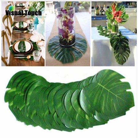 24pcs Tropical Leaves Cloth Artificial Palm Leaves Large 14