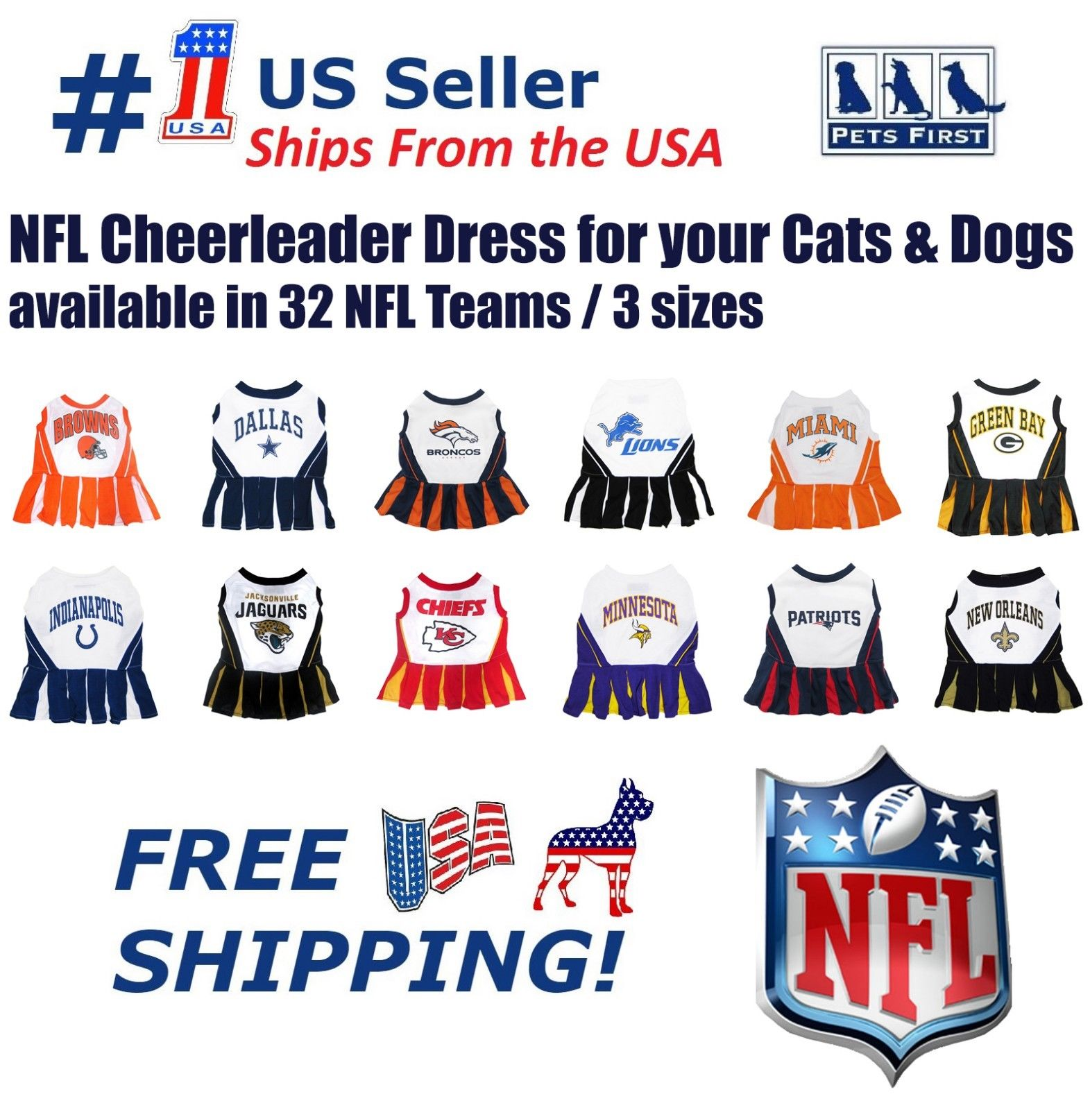Pets First SAN FRANCISCO 49ERS CHEERLEADER DOG DRESS COSTUME LICENSED NFL Small