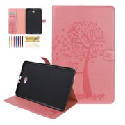 Dteck Folio Case For Samsung Galaxy Tab A 10.1 inch 2016 SM-T580 (No S Pen), Embossed Tree PU Leather Folding Stand Wallet Cover, Built-in Card Slots, Magnetic Closure, Pink