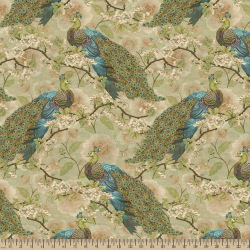 Springs Creative Indian Peacock Floral Fabric by the Yard