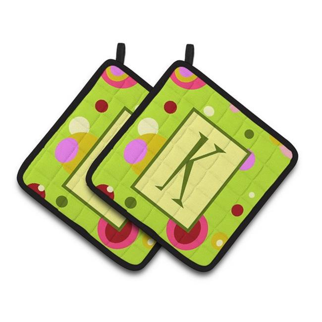 Carolines Treasures CJ1010-KPTHD Letter K Monogram - Lime Green Pair of Pot Holders, 7.5 x 3 x 7.5 in. - image 1 de 1