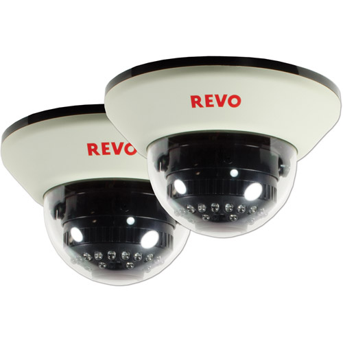Revo America 1200TVL Indoor Dome Surveillance Camera with 100' Night Vision, 2-Pack