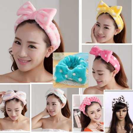 Beauty Big Bow Dot Striped Soft Shower Hair Band Wrap Headband Bath Spa