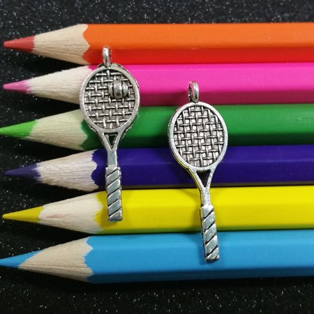 10 PCS - Tennis Racket Ball Sports School Silver Charm Pendant