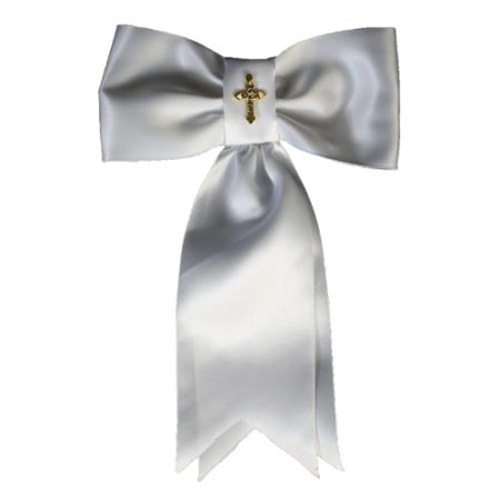Boys White Gold Cross First Communion Arm Band