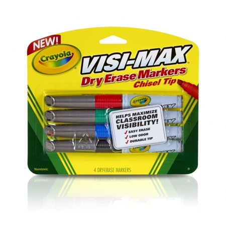 Crayola Visi Max Dry Erase Broad Line Markers  4 Count