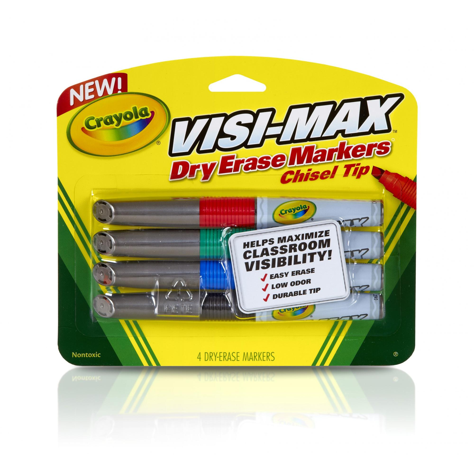 Crayola Visi-Max Dry-Erase Broad Line Markers, 4-Count