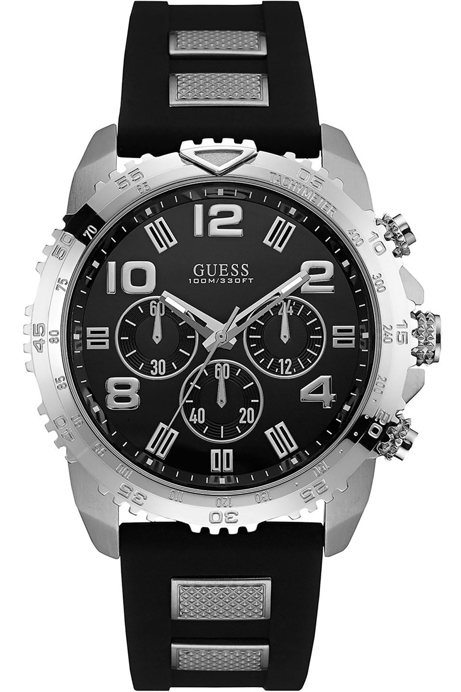 GUESS W0599G3,Men's Chronograph,Silver tone,black dial,stainless steel,black silicone strap,100m WR